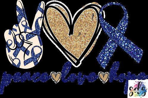 Peace Love Hope Child Abuse Awareness HTV Transfer