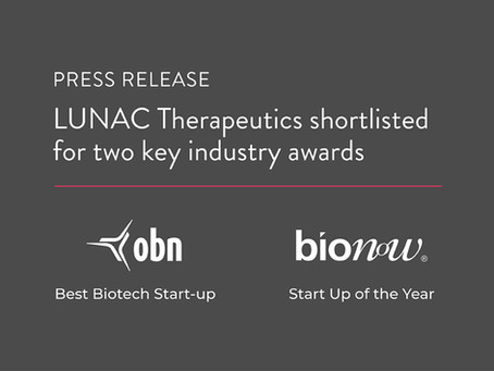 LUNAC Therapeutics shortlisted for two key industry awards