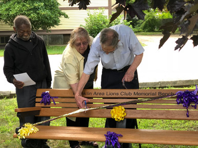 Lions Club Bench Donation Ribbon Cutting