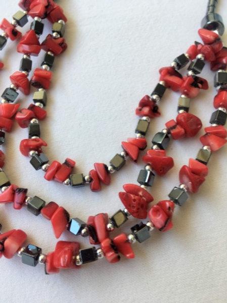 Vintage red & hematite stone necklace