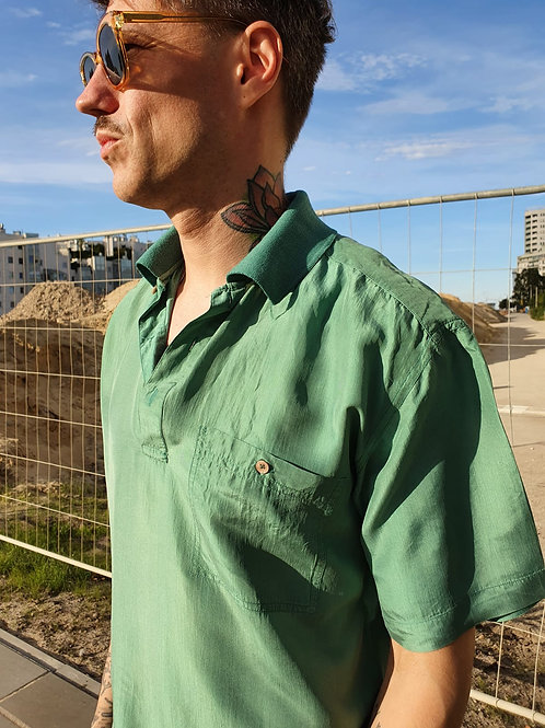 Vintage silk green polo shirt M/L