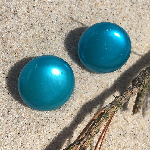 Vintage 80' blue pearl clip on earrings