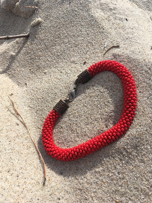 Vintage red braided bracelet
