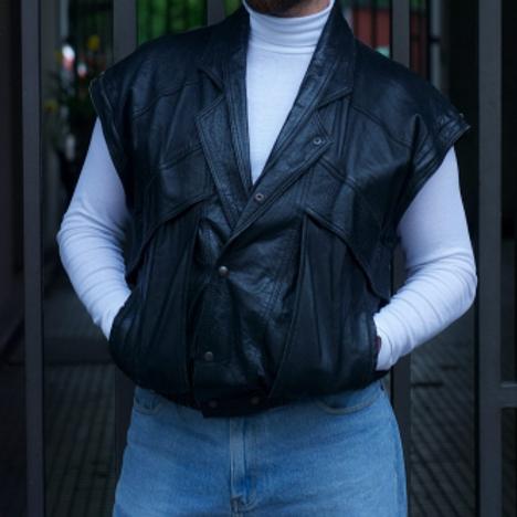 Vintage 80s leather vest L