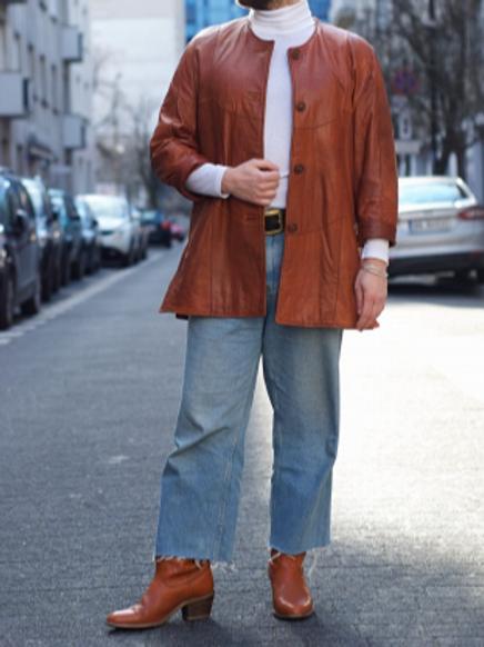 Vintage honey leather blazer 40