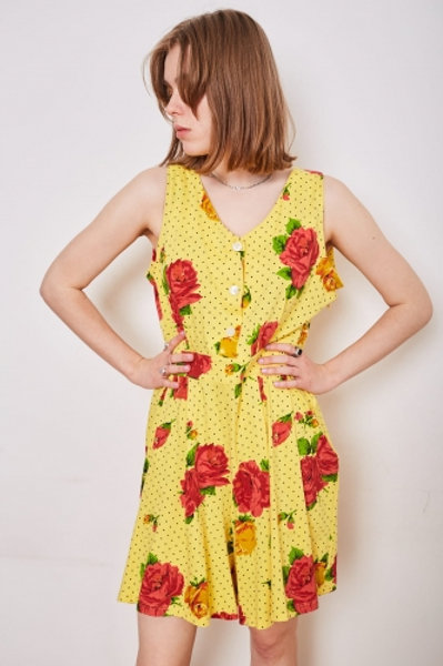 Short yellow vintage one roses Biss by Caroline 42