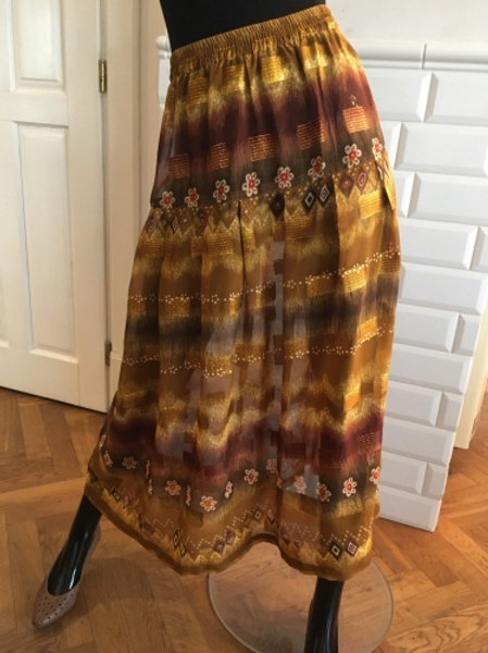 Vintage gold & brown long gypsy see through skirt 40