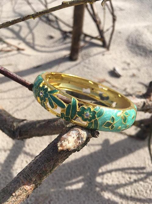 Vintage golden & green bracelet