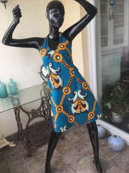 Vintage blue afro pattern DRESS 40