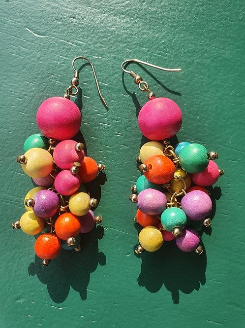 Vintage 80' colorful big earrings