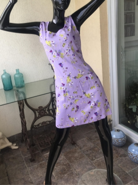 Vintage mauve 90s viscose dress with flowers 38