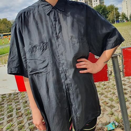 Vintage black silk shirt M