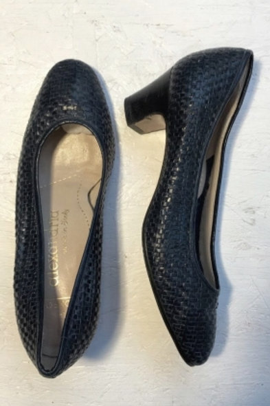 Vintage navy blue braided leather pumps 35