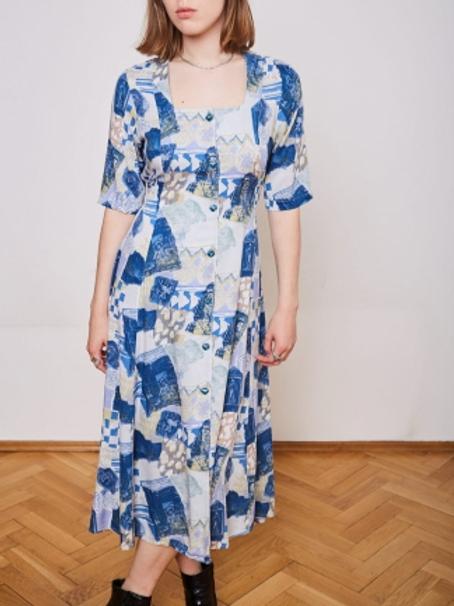 Vintage white & blue printed dress 90s 38