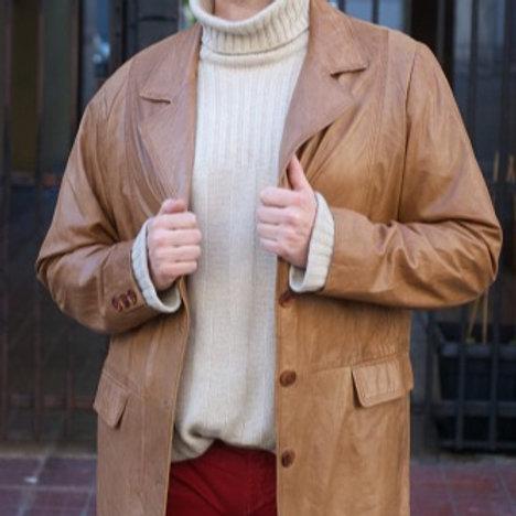 Vintage very soft light brown leather blazer L