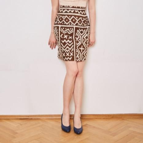 Vintage brown short skirt with print 38