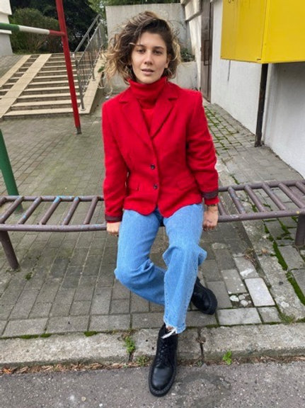 Vintage hot red soft angora blazer