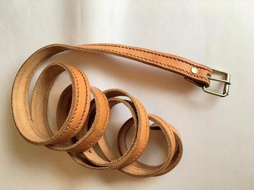 Vintage honey leather long belt 170