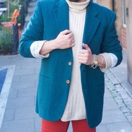 Vintage 90s dark turquoise wool & cashmere blazer 52