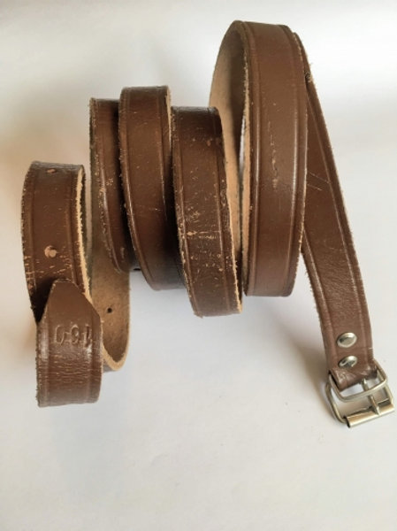 Vintage brown leather belt with silver hardware 160
