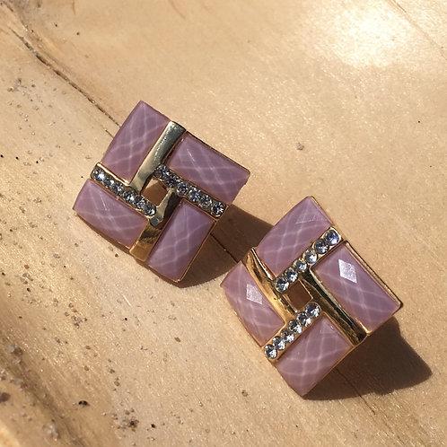 Vintage  80' pink & golden clip on earrings
