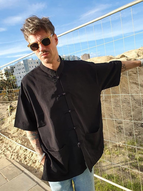 Vintage silk Asian style shirt in black XL