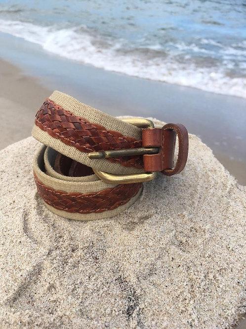 Vintage webbing & leather belt
