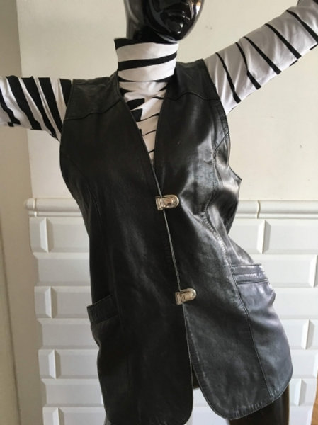 Vintage black soft leather waistcoat with braid 40