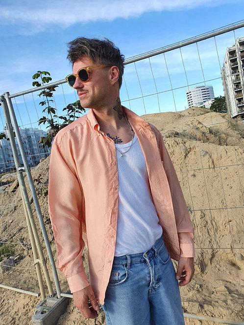 Vintage peach silk shirt L