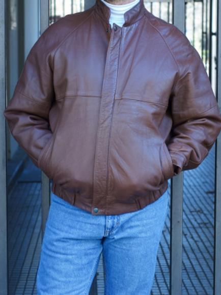 Vintage brown leather bomber jacket 80s M/L