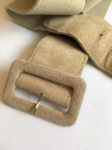Vintage beige leather belt with elastic part 83