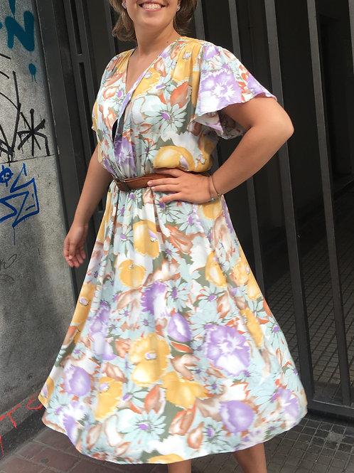 Vintage flowery pastel dress 42