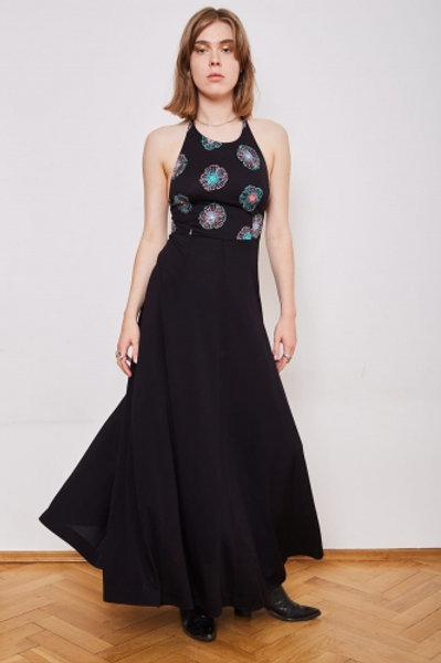 Black Long black vintage dress with decorated top 36