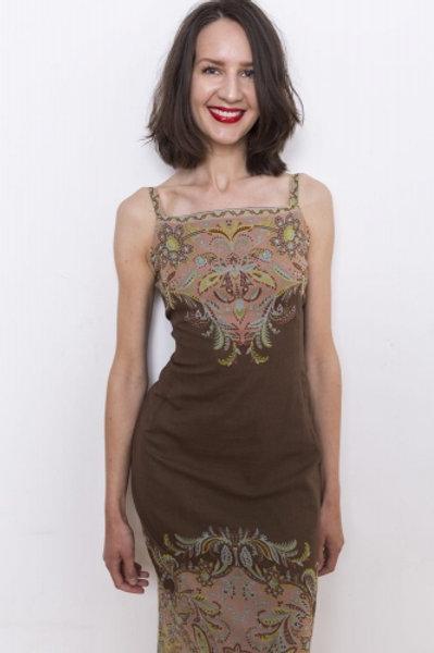 Brown vintage dress with Cyrillus 38 floral motif