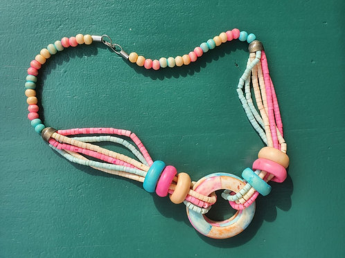 Vintage 90' heavy colorful necklace
