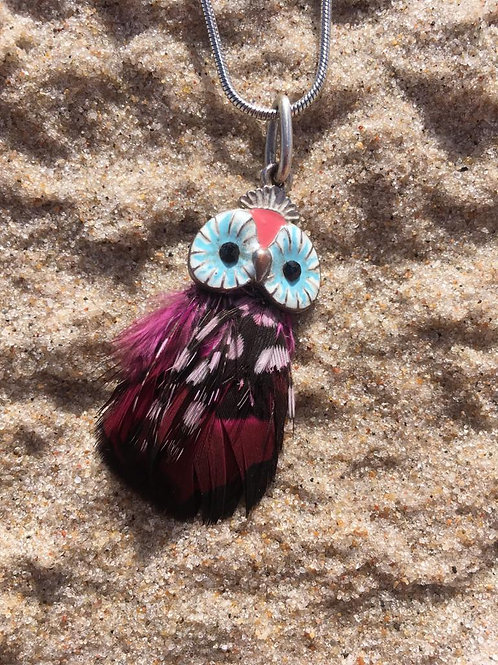 Vintage owl pendant with natural feathers