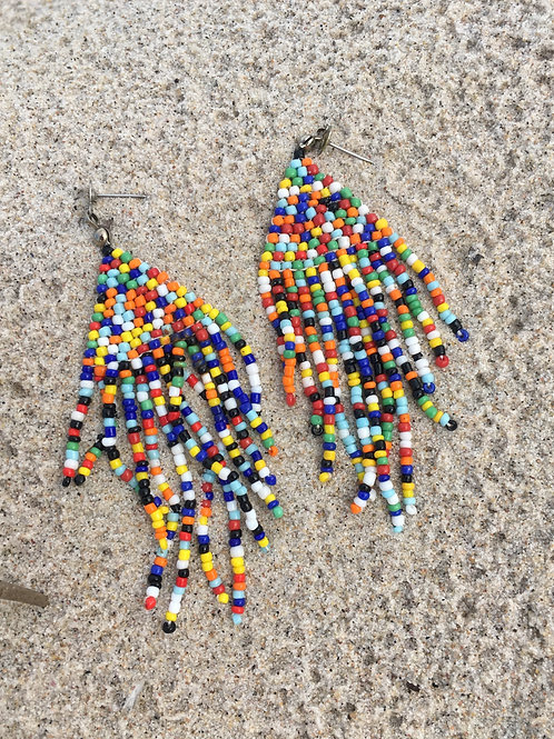 Vintage multicolored earrings made of small beads