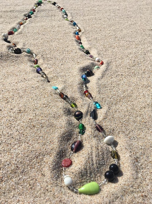 Vintage super cool long necklace of glass beads