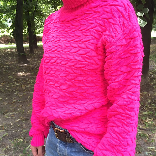 Vintage  neon pink color sweater L