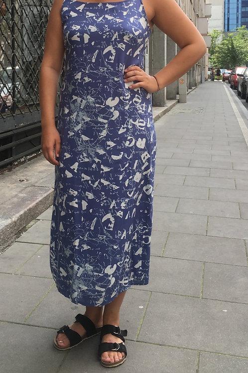 Vintage  long blue viscose 90's dress 38