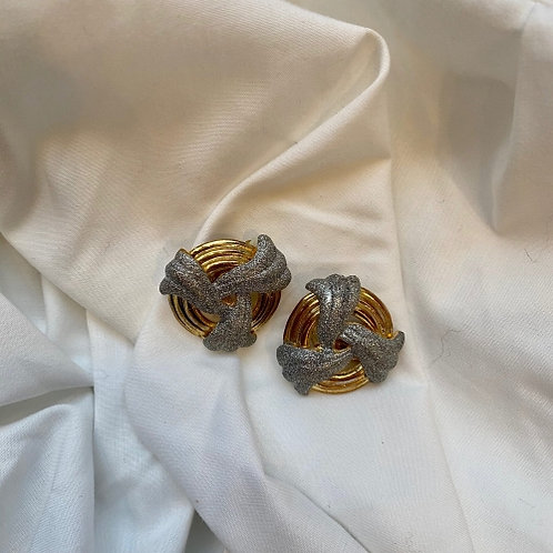Vintage 80s golden clip on earrings  with silver glitter