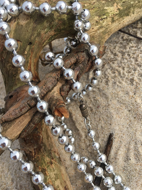 Vintage long necklace made of metal beads