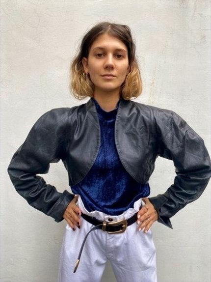 Vintage 80's  black leather bolero jacket