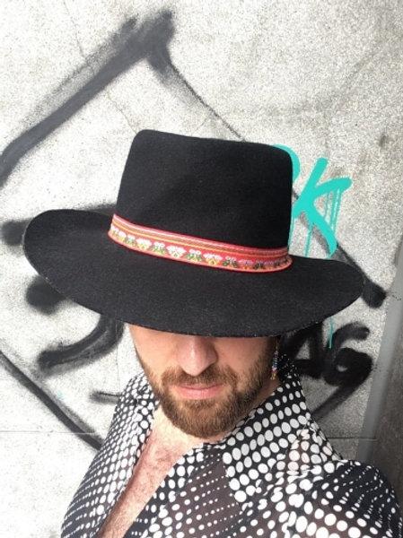 Vintage black wool hat  58