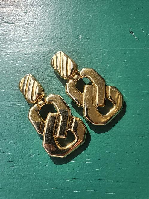 Vintage golden 80' clip on earrings