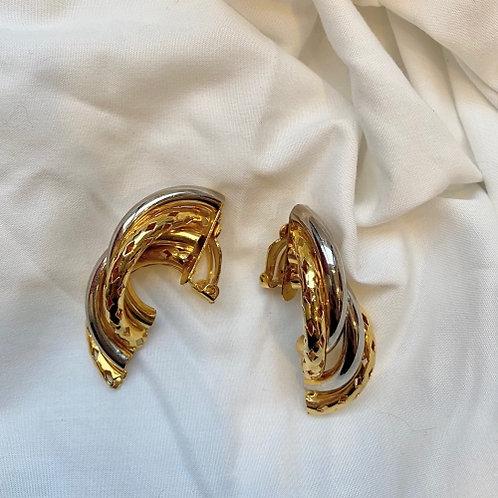 Vintage 80s silvery & golden clip on earrings