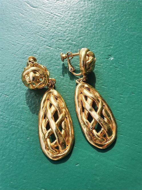 Vintage golden clip ons