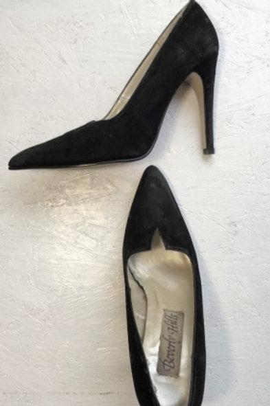 Vintage black suede high heels 36
