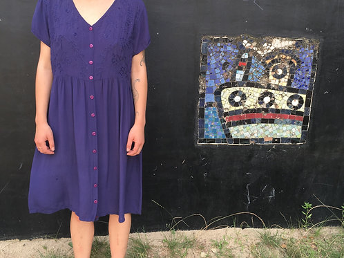 Vintage  purple Indian dress with embroidery