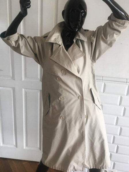 Vintage beige cotton trench coat with green lining 38/40